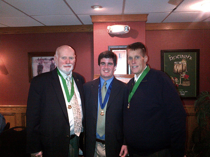 Walter Cooper, Queens County AOH Vice President, Kieran Mahoney Newly Installed AOH Division 9 President, and John Manning  AOH Queens County President.